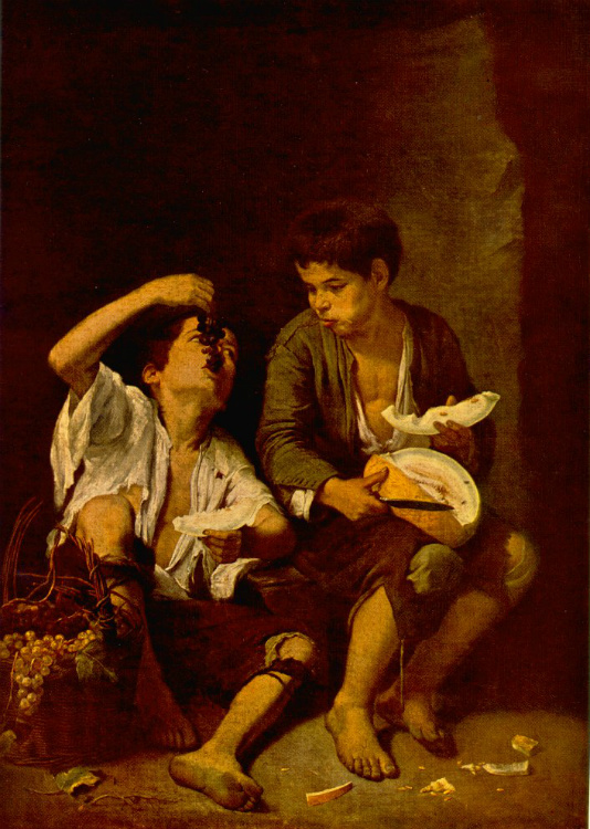 Two Children Eating a Melon and Grapes