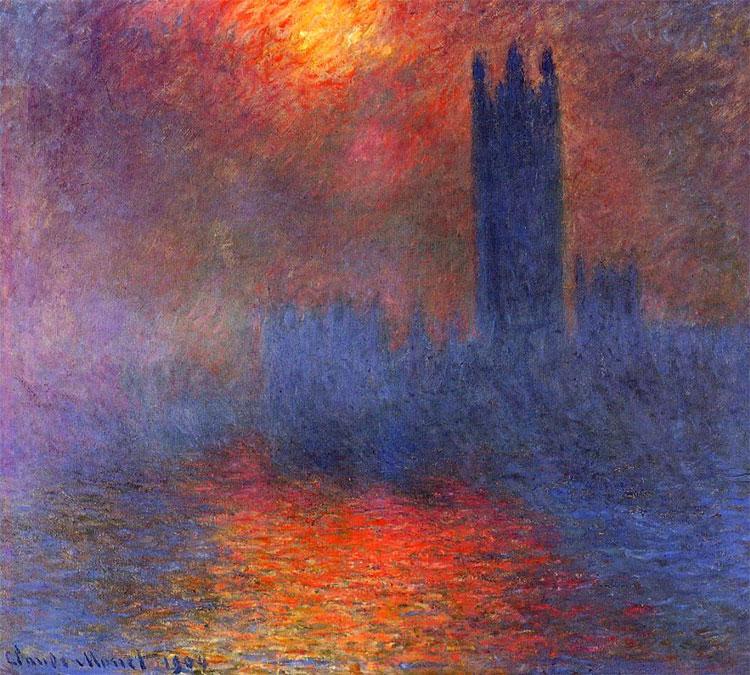 Houses of Parliament, Londra, Sun Breaking Through Fog