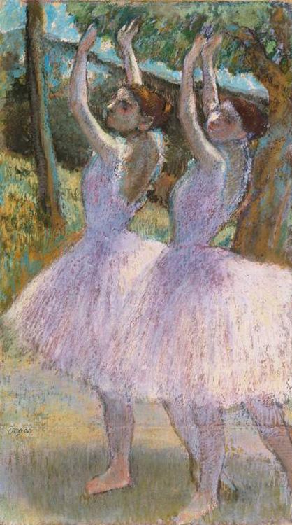 Danseuses aux jupes violettes, bras levés