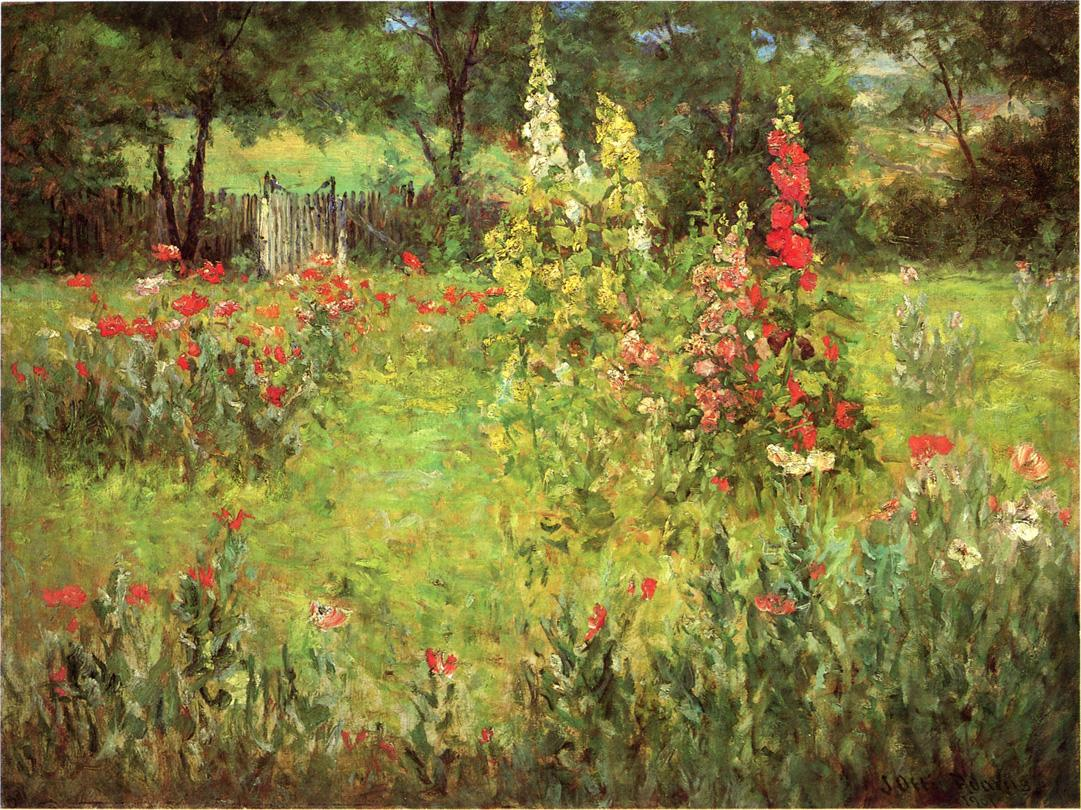 Hollyhocks and Poppies - The Hermitage