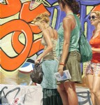 Three Girls Standing by Graffiti